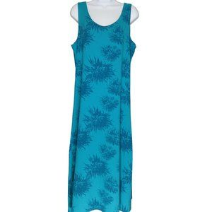 TRAVELSMITH Teal Blue Floral Long Tank Soft